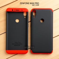 เคส Zenfone Max Pro M1 (ZB602KL) เคสแข็ง 3 ส่วน ครอบคลุม 360 องศา (สีดำ - แดง)