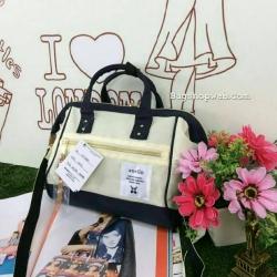 กระเป๋า Anello 2 Way Mini Boston Bag Twotone ขาวดำ สะพายข้างลำตัว