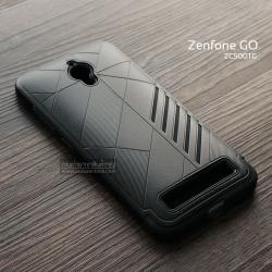 เคส Zenfone GO (ZC500TG) เคสนิ่ม HYBRID 2 ชั้น ขอบหนาลดแรงกระแทก สีดำ