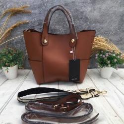 กระเป๋าสะพาย ZARA Mini Tote With Contrasting Handle สีน้ำตาล ราคา 1,290 บาท Free Ems