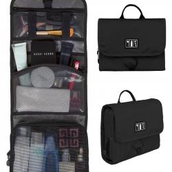 กระเป๋าใส่อุปกรณ์อาบน้ำ คุณภาพสูง ใส่อุปกรณ์อาบน้ำ แขวนได้ สำหรับเดินทาง ท่องเที่ยว (สีดำ)