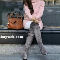 กระเป๋าหนังแท้ ทรงฮิต Lindy 26cm สีน้ำตาล Silver material Coated Leather หนังลูกวัวแท้100% งานคุณภาพไฮเอน