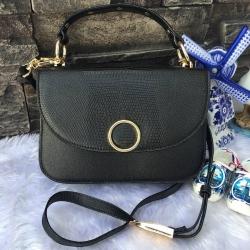 NEW 2017 CHARLES & KIETH CIRCULAR DETAIL HANDBAG กระเป๋าสะพาย ขนาดกำลังดี สีดำ