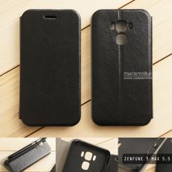 """เคส Zenfone 3 Max 5.5"""" (ZC553KL) เคสหนังฝาพับ + แผ่นเหล็กป้องกันตัวเครื่อง (บางพิเศษ) สีดำ"""