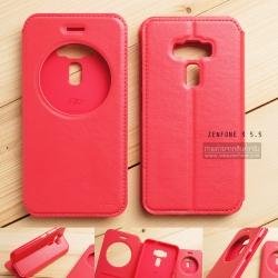เคส Zenfone 3 ZE552KL (5.5 นิ้ว) เคสฝาพับหนัง PU แบบพิเศษ สีชมพูเข้ม