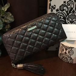 กระเป๋าเงิน Charles & Keith Long Wallet 2017 สีดำกลิ๊ตเตอร์ ราคา 1,090 บาท Free Ems