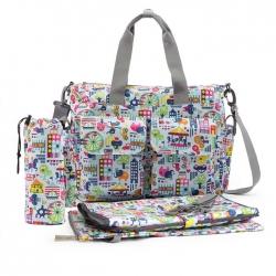 Ecosusi กระเป๋าสัมภาระคุณแม่ กระเป๋าใส่ผ้าอ้อม แขวนรถเข็นเด็กได้ หิ้ว หรือสะพายไหล่ได้ (ลายสวนสนุก)