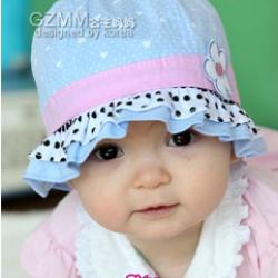 HT068••หมวกเด็ก•• / หมวกถังหัวใจสีฟ้า