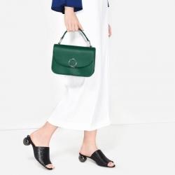 NEW 2017 CHARLES & KIETH CIRCULAR DETAIL HANDBAG กระเป๋าสะพาย ขนาดกำลังดี สีเขียวเข้ม