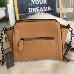 CHARLES & KEITH Trapeze Crossbody Bag สี Brown