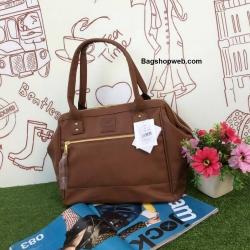 กระเป่า Anello PU Leather boston bag Brown Color