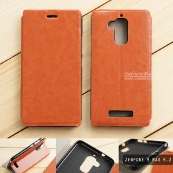 """เคส Zenfone 3 Max 5.2"""" (ZC520TL) เคสหนังฝาพับ + แผ่นเหล็กป้องกันตัวเครื่อง (บางพิเศษ) สีน้ำตาล"""