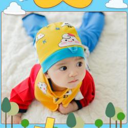 AP184••เซตหมวก+ผ้ากันเปื้อน•• / เมฆ [สีเหลือง]