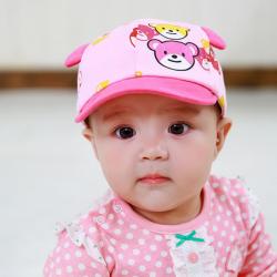 HT349••หมวกเด็ก•• / หมวกแก็ปน้องหมี (สีชมพู)