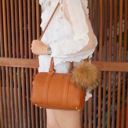 KEEP leather Pillow bag Vintage brown สวยหรู เวอร์วังมากคะ มาพร้อม pompom ขนยาวเข้าset