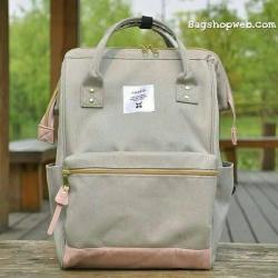 กระเป๋าเป้ ANELLO X PAGEBOY สี Regular size สีใหม่ วัสดุ Polyester canvas สลับหนังกลับ ปากกระเป๋าเปิดปิดด้วยซิปคู่