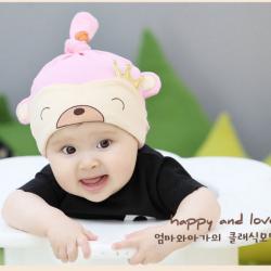 HT407••หมวกเด็ก•• / หมวกบีนนี่-หมีมงกุฎ (สีชมพู)