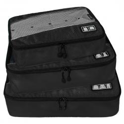 ชุดจัดกระเป๋าเดินทางคุณภาพดีมาก 3 ใบต่อชุด ใส่เสื้อ, กางเกง, กระโปรง, ผ้าขนหนู (Ecosusi 3 Set Packing Cubes - Travel Organizers)