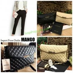 กระเป๋า MANGO / MNG leather messenger bag กระเป๋าสะพายรุ่นคลาสสิคฮิตตลอดกาลไม่มีเอ้าท์ ลายตารางหนังนิ่ม มาพร้อมสายโซ่อะไหล่เงินร้อยหนัง สะพายข้าง หรือเก็บสายด้านในถือเป็นคลัทช์ได้