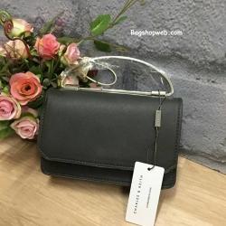 กระเป๋า Charles & Keith Push Lock Bag 2016 สีดำใบเกลี้ยง