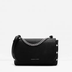 กระเป๋าสะพายข้างครอสบอดี้แต่งหมุด Charles & Keith Studded Chain Crossbody สีดำ ราคา 1,390 บาท Free Ems