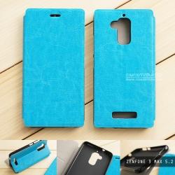 """เคส Zenfone 3 Max 5.2"""" (ZC520TL) เคสหนังฝาพับ + แผ่นเหล็กป้องกันตัวเครื่อง (บางพิเศษ) สีฟ้า"""