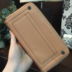 กระเป๋าสตางค์ใบยาว Charles & Keith Studded Front Pocket Wallet สีน้ำตาล ราคา 990 บาท Free Ems