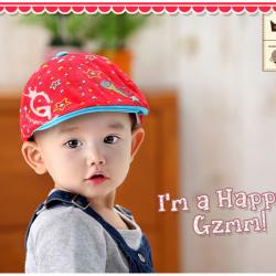 HT062••หมวกเด็ก•• / หมวกเบเร่ต์ Super Star [สีแดง]