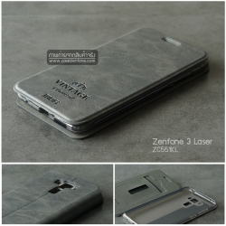 เคส Zenfone 3 Laser (ZC551KL) เคสฝาพับพิมพ์ลายหนัง (บางพิเศษ) สีเทา (ฝาหน้าพิมพ์ลาย Vintage)