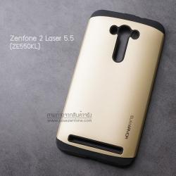"""เคส Zenfone 2 Laser (5.5 นิ้ว"""") ZE550KL เคส (SLIM HYBRID BUMPER - 2ส่วน) เคสนิ่มพร้อมขอบบั๊มเปอร์ สีดำ/ทอง"""