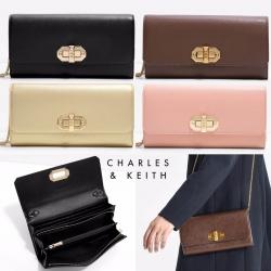 กระเป๋า CHARLE & KEITH TURN LOCK WALLET 2016 ใช้ถือหรือสะพายทรงคลัช ล่าสุดชนช็อป! วัสดุหนัง Saffiano สวยหรูสไตล์ PRADA
