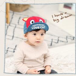 HT391••หมวกเด็ก•• / หมวกแก็ป LOVE CAT (สีแดง)