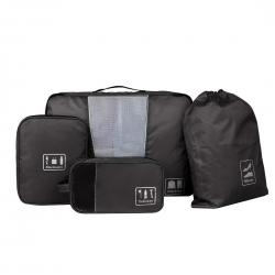 Ecosusi ชุดจัดกระเป๋าเดินทาง 4 ใบ กันน้ำ พกพาสะดวก ใส่เสื้อผ้า, อุปกรณ์ไอที, อุปกรณ์น้ำ และรองเท้า (สีดำ)
