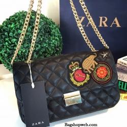กระเป๋า Zara Quilted Patches Cross Body Bag 2016 กระเป๋าสะพายหนังแกะสังเคราะห์หนังนิ่มสวยลายตารางรุ่นใหม่ล่าสุด รูปทรงสไตล์ Chanel สำเนา