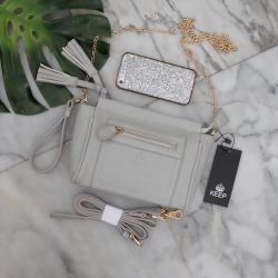 กระเป๋า KEEP saffiano leather 3in1 with chain strap Light grey