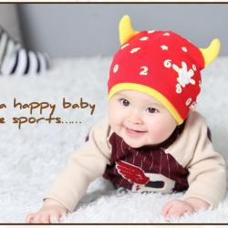 HT398••หมวกเด็ก•• / หมวกบีนนี่-เลขคู่ (สีแดง)