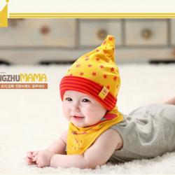 AP071••เซตหมวก+ผ้ากันเปื้อน•• / [สีเหลือง] ดวงดาว