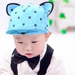 HT381••หมวกเด็ก•• / หมวกแก็ปแมวเหมียว (สีฟ้า)
