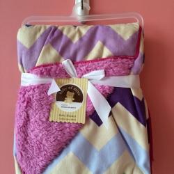 BK073••ผ้าห่มเด็ก•• / ลายซิกแซก-สีม่วงอ่อน