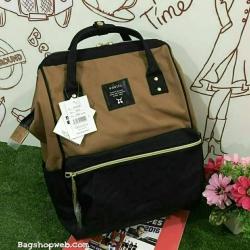 กระเป๋าเป้ Anello Polyester Canvas RuckSack Classic วัสดุผ้าแคนวาส สีทูโทน น้ำตาล-ดำ รุ่นคลาสสิกพิเศษมีซิปหลัง น่าใช้