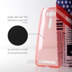 เคส Zenfone 2 Laser (5 นิ้ว) | เคสนิ่ม Super Slim TPU บางพิเศษ พร้อมจุด Pixel ขนาดเล็กด้านในเคสป้องกันเคสติดกับตัวเครื่อง (แดงใส)
