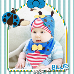 AP098••เซตหมวก+ผ้ากันเปื้อน•• / [สีน้ำเงิน] เต่าทอง