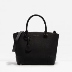 กระเป๋าถือ Size L สีดำ พร้อมสายสะพายหนังเรียบนิ่มสวยCHARLES & KEITH LARGE TOTE (BLACK)