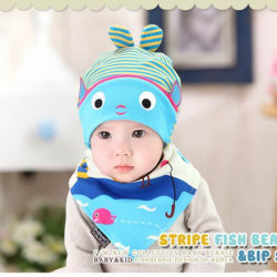 AP130••เซตหมวก+ผ้ากันเปื้อน•• / [สีฟ้า] ปลา