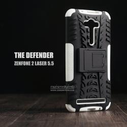 เคส Zenfone 2 Laser (5.5 นิ้ว) กรอบบั๊มเปอร์ กันกระแทก Defender สีขาว (เป็นขาตั้งได้)