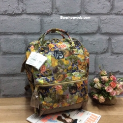 กระเป๋าเป้ Anello x Legato Largo ; Botanical & Cat nylon Cap fasteners Backpack Beige Button