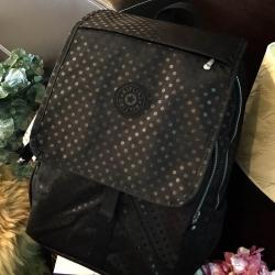 กระเป๋า KIPLING NYLON LARGE BACKPACK Nylon+Polyester 100% ใบใหญ่ สีดำลายจุด