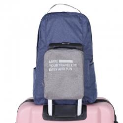 กระเป๋าเป้พับเก็บได้ ผลิตจากโพลีเอสเตอร์คุณภาพดี น้ำหนักเบา พับเก็บง่าย เสียบกระเป๋าเดินทางได้ พร้อมเดินทางทุกที่