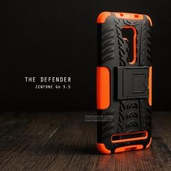 """เคส Zenfone GO 5.5"""" (ZB551KL DTAC Edition เท่านั้น) เคสบั๊มเปอร์ Defender กันกระแทก มีขาตั้งในตัว สีส้ม"""