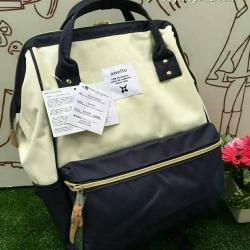 กระเป๋าเป้ Anello Polyester Canvas Rucksack Classic สีขาว-กรม วัสดุผ้าแคนวาสอย่างดี รุ่นคลาสสิกพิเศษมีซิปด้านหลัง